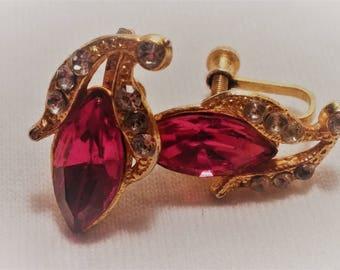 Vintage Navette and Rhinestone Earrings