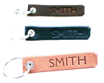 Personalized Leather Keychain/Black or Brown Leather Key Fob/Custom KeyChain/Monogrammed Key Chain/Name on Key Chain/Made in USA/Leather4U