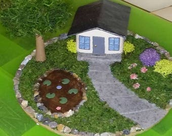 Miniature fairy garden and home