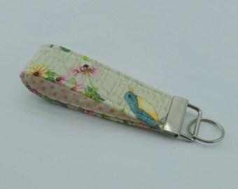 Key Fob,Wristlet,keyChain,key chain,bird and flower fabric,Key Lanyard, Handmade Keyfob