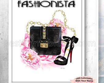 Bestfriend Gift, Art Fashion Girls, Fashionista Print, Fashion Watercolor, Watercolor Fashion Art, Fashion Art Print, Fashion Wall Art