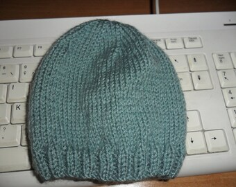 Baby hat size newborn to 3 months hand knitted wool Mint Green