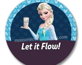 "Frozen Elsa ""Let it Flow!"" Starbucks Coffee 3"" Disney Parks Inspired Celebrations Pinback Button"