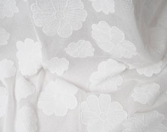 Off white cotton net with big flowers 140 cm No. 362 by 50cm