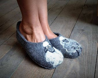FELTED SLIPPERS gift for mom designer slippers natural slippers felt house shoes sheep wool home shoes gift women 8.5