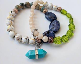 Turquoise Gem Charm bracelet