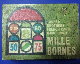 Mille Bornes-1962-64 vintage Parker Brothers French Card Game (Complete game in original box)