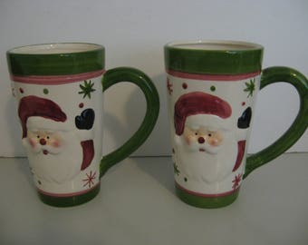 Hermitage Pottery - Large Santa Claus Face Mugs - Set of 2!