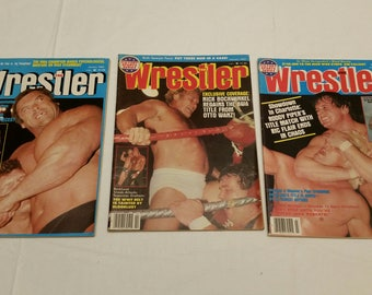 3 vintage pro wrestling magazines - the wrestler 1983 jan feb march - wwe wwf awa ecw nwa sports gagne kangaroos windham kamala hennig #F