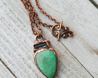 Amazonite, Black Tourmaline and Blue Topaz Pendant