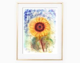 Sunflower Watercolor, Sunflower Wall Art, Sunflower Painting, Sunflower Wall Decor, Sunflower Wall Art, Printable Wall Art, Sunflower Art