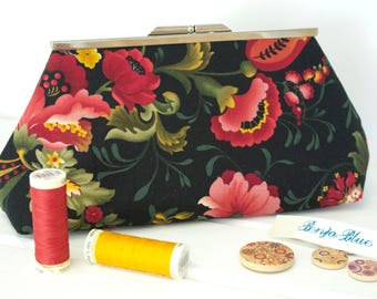 Clutch Bag - Purse - Hand Bag - Evening Bag - Prom Bag - Handmade bag featuring stylised red and gold flowers on a black background
