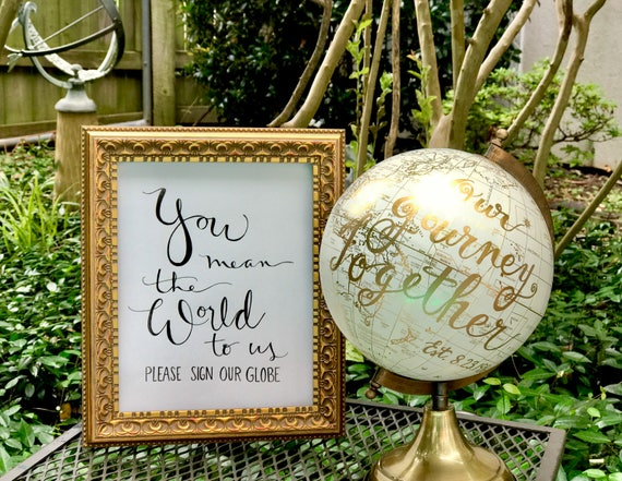 You Mean the World to Us ~ Please Sign Our Globe Art Print/Chalkboard or Art Paper/white or black ink/custom wording - w/or w/o FRAME
