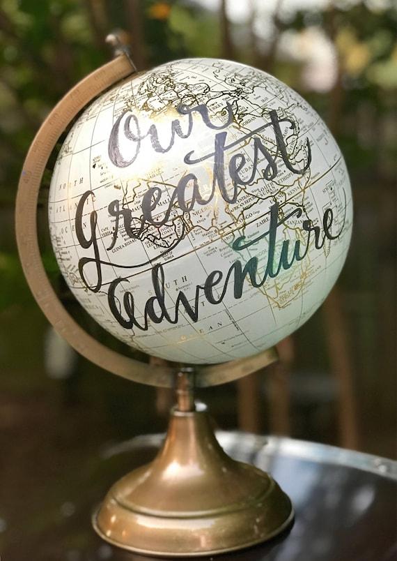 Custom Calligraphy Globe / White and Gold Calligraphy Globe w/Gray ink / Custom Wording/Ink Color - Wedding Guest Book Globe/ Nursery Globe