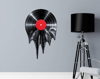 Melting Vinyl Record Wall Decal, Music Wall Decal, Retro Wall Decal, Gift for Her, Gift for Him