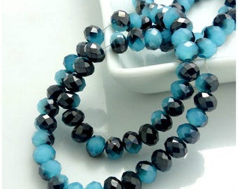 Set of 4 Crystal beads faceted - Turquoise Opaque and black AB reflection - 6x4mm - Ref: B4-6