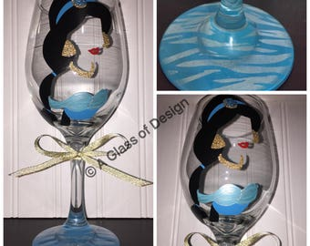 Princess glasses, Princess wine glasses, Disney Princess, hand painted wine glasses, Princess gifts, Ariel, Jasmine,Aurora, Mulan,Snow White