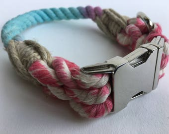 SALE Cotton Candy rope collar with metal buckle.