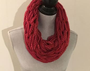 Infinity scarf, Arm knitted cowl. Burnt red scarf, Chunky scarf, handmade scarf, double wrap scarf