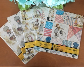 American Greetings Holly Hobbie Gift Wrap - 4 Packages - New Old Stock