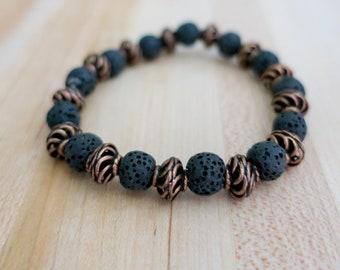 Copper   Aromatherapy   Essential Oil   Lava Rock   Diffuser Bracelet   Beaded Bracelet   Yoga   Stretch Bracelet   Handmade