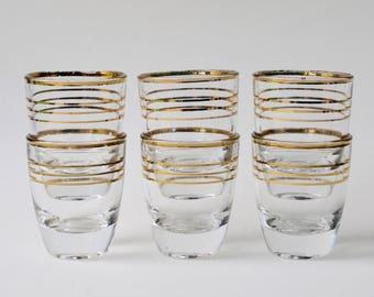 Vintage shot glasses, liqueur glasses.  Gold band set of six 1950's vintage glasses. Gold rim drinking glasses. Shot glasses vintage retro.