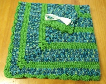 NEW Handmade Crochet Baby Blanket and Hat/Beanie Set - Green & Blue Striped - A Wonderful Baby Shower Gift!! - SEE NOTE!