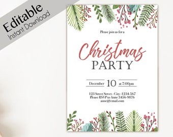 Christmas Invitation template, Christmas Invite Editable Christmas Party template, Editable Christmas Invitation, Holiday Party Invitations