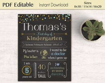First/Last Day of School Sign Chalkboard Print, neutral colors, Editable Text, DIY, Chalkboard Sign, Kindergarten, Stars, INSTANT DOWNLOAD