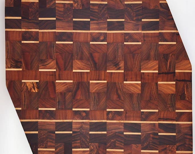 Rosewood and Maple Wooden End Grain Chopping / Cutting Board / Butcher's Block