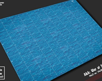 Battle mat: War at Sea -  water terrain for fleet miniature battleboard ocean wargames Axis & Allies, Dystopian Wars