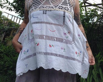 WRAITHANDFEY sleeveless white magnolia tunic upcycled embroidered flowers OSFM cotton
