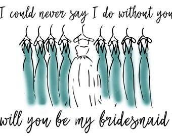 Will you be my Bridesmaid \\Blue\\Green\\Bridesmaid Proposal\\Digital File
