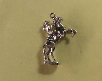 Sterling silver articulated rodeo bronc Riding horse charm vintage #294 s