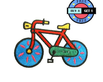 Colorful Red Bike Bicycle Embroidered Iron On Patch Heat Seal Applique Sew On Patches