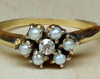 Antique/Vintage Old Mine Cut Diamond Seed Pearl 14K Gold