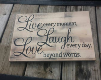 "Wooden Rustic ""Live, Laugh, Love"" carved sign"