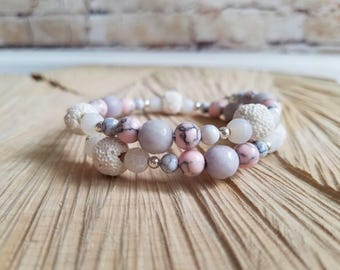 Essential Oil Diffusing Bracelet with Gray Jade, White & Pink Magnesite, White Agate, and White Lava Stone