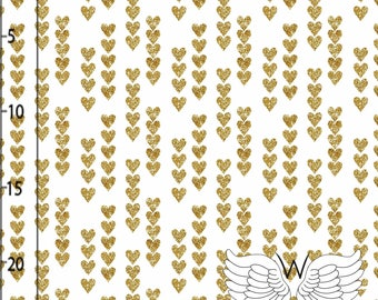 ORGANIC Cotton JERSEY Fabric - Hearts in Gold by  Wcollection - UK Seller