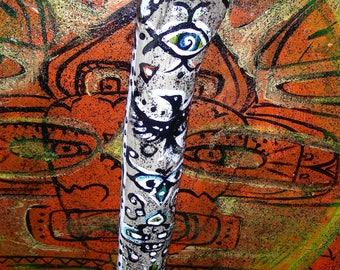 Shaman talking stick - 47 cm shaman speaking staff