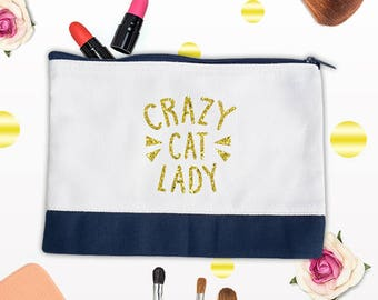 Crazy Cat Lady Makeup Bag, Gift Bag, Birthday Present, Personalized Bag,Bag for Women,Cosmetic bag