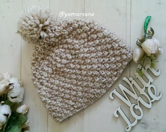 Pom Pom knit hat Beige Hat Knit Beanie  Winter Accessory Hand Knit Chunky Hat Winter hat Warm winter hat Soft knit hats Gift for Her