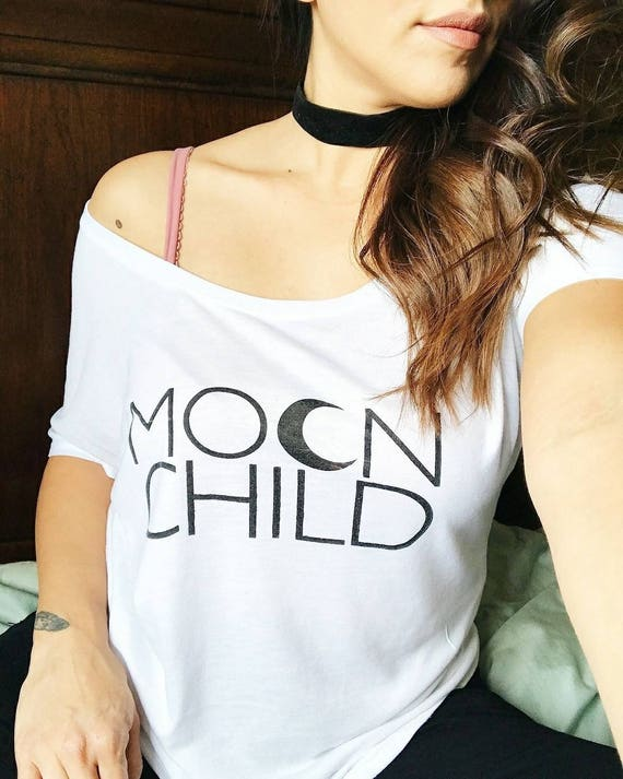 MOON CHILD White or Gray (Off Shoulder) Tee, Moon Child Tee, Moon Child, Stay Wild Moon Child, Moon Child Shirt, Moon Child T, Moon Child T