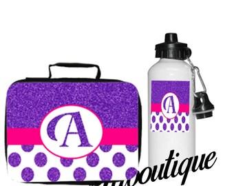 Glitter Letter Lunch Box/Water Bottle