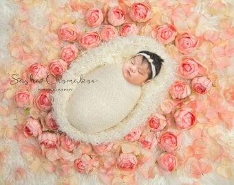 digital backdrop background newborn baby girl peach pink flowers fur cream off white
