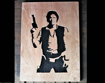 Han Solo Wooden Silhouette - Handcrafted Star Wars Art