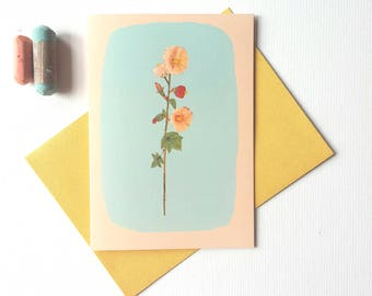 Holly Hock Greetings Card-Flower Note-let Card-Botanical Drawing Card-Art Card-Illustrated Flower card-Pretty Flower Card-Birthday Card