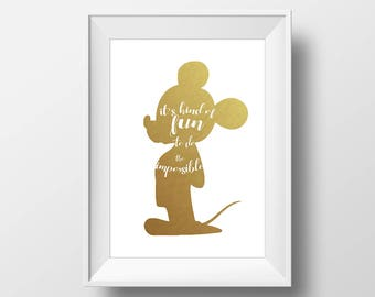 Wall Art Gold Foil Digital Mickie Mouse Print,Disney Quote Print,Printable Foil Disney,Glitter,Nursery Print,Baby Gift,Room Decor,Party