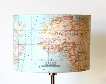 Globe Lampshade, world map atlas lamp, vintage globe print, Study Fathers day Globe trotter, light blue beige pastel colors
