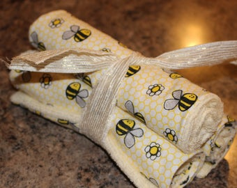 Burp rags with bees